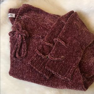 Impressions crushed velvet woven sweater In Rose'